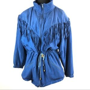 Vintage 100% silk drawstring fringe jacket coat